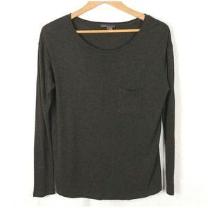 VINCE Dark Green Long Sleeve Boxy Knit Top